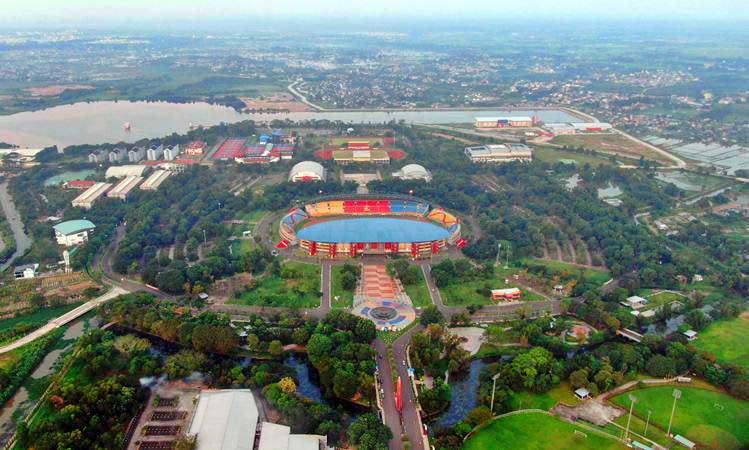 Foto udara kawasan Jakabaring Sport City di Palembang, Sumatra Selatan, Kamis (2/5/2019). - Bisnis/Abdullah Azzam