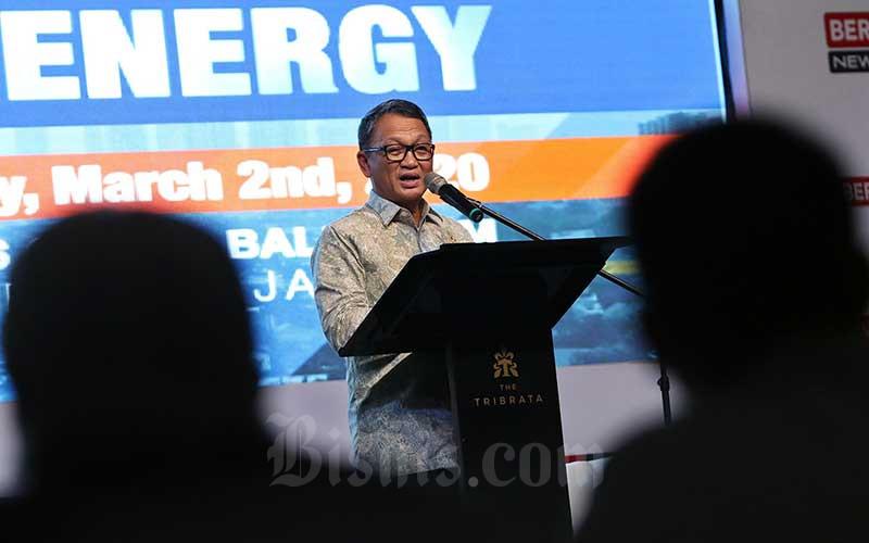 Menteri Energi dan Sumber Daya Mineral Arifin Tasrif memberikan sambutan saat pembukaan Jakarta Energy Forum 2020 di Jakarta, Senin (2/3/2020). Bisnis - Eusebio Chrysnamurti