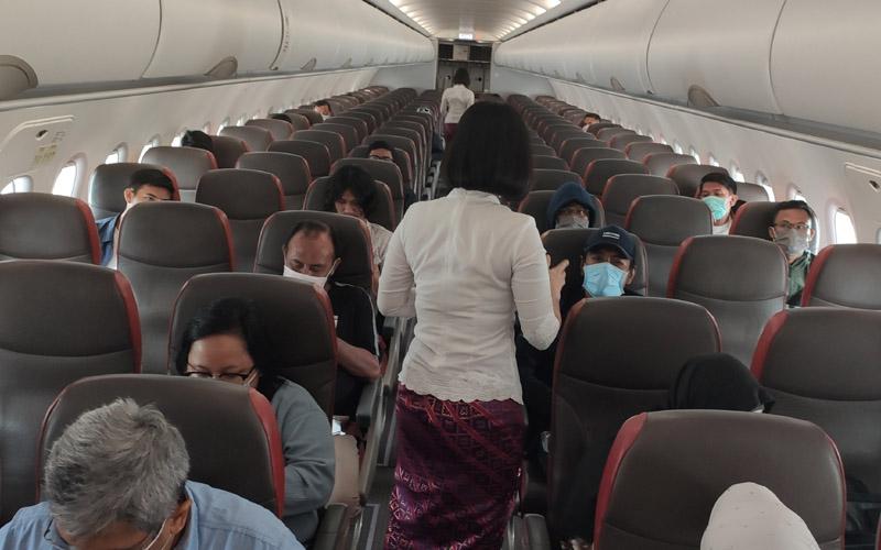 Implementasi physical distancing yang dilakukan Lion Air Group terhadap penumpang pesawat. - Dok. Istimewa