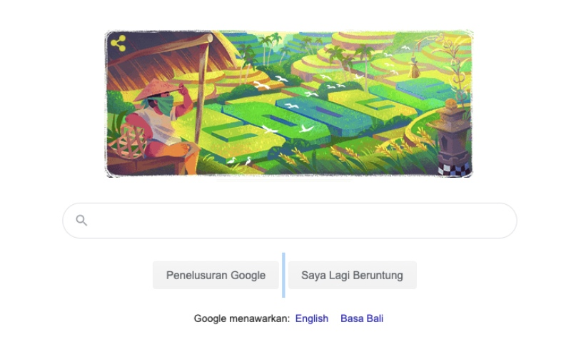 Google Doodle menampilkan Subak atau sistem irigasi dari Bali, Senin (29/6/2020). Subak disahkan sebagai warisan budaya dunia oleh UNESCO atau pada tanggal 29 Juni 2012./Tangkapan Layar - Bisnis/Oktaviano DB Hana