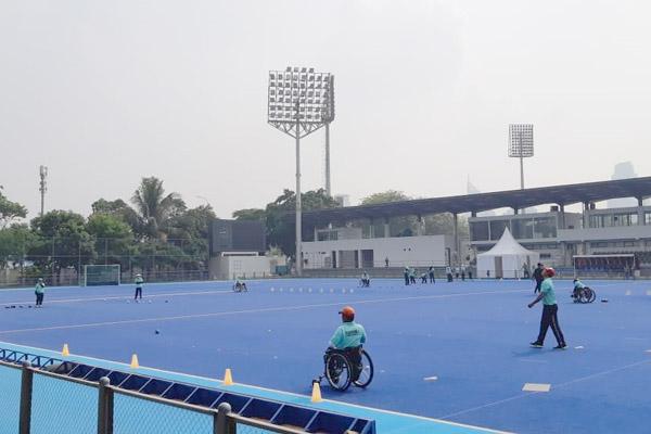 Suasana latihan atlet cabang olahraga lawn ball  Asian Para Games 2018 Kamis (27/9/2018). - Bisnis/Nur Faizah al Bahriyatul Baqiroh