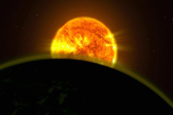 Ilustrasi cahaya bintang yang menerangi atmosfer satu planet. Keberadaan air atmosfer pada sedikit exoplanet yang mengorbit bintang-bintang di luar tata surya sudah pernah dilaporkan tapi studi kali ini secara konklusif mengukur dan membandingkan profil intensitas tanda-tanda tersebut. - NASA\\\'s Goddard Space Flight Center