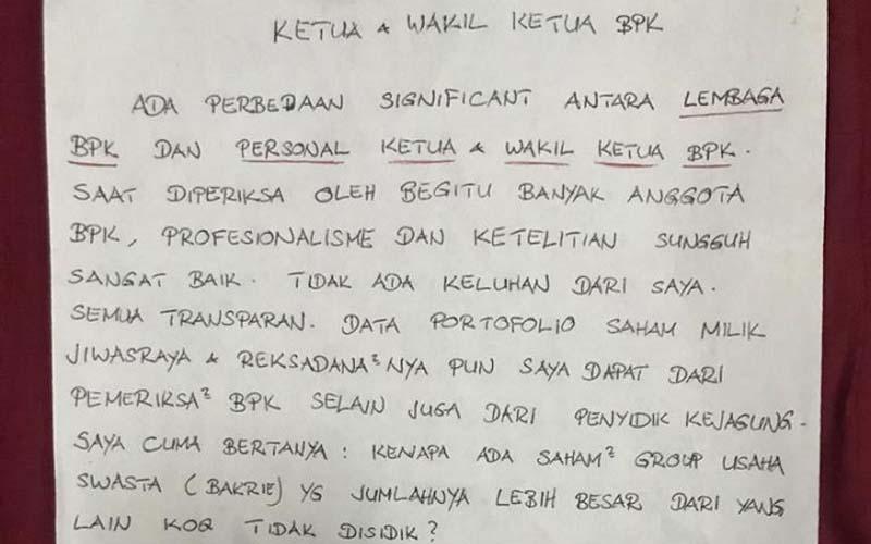 Tulisan tangan Benny Tjokrosaputro yang beredar di kalangan pers, Rabu (1/7/2020). Menurut Benny, ada perbedaaan signifikan antara lembaga dan personel, serta ketua dan wakil ketua BPK. - Istimewa