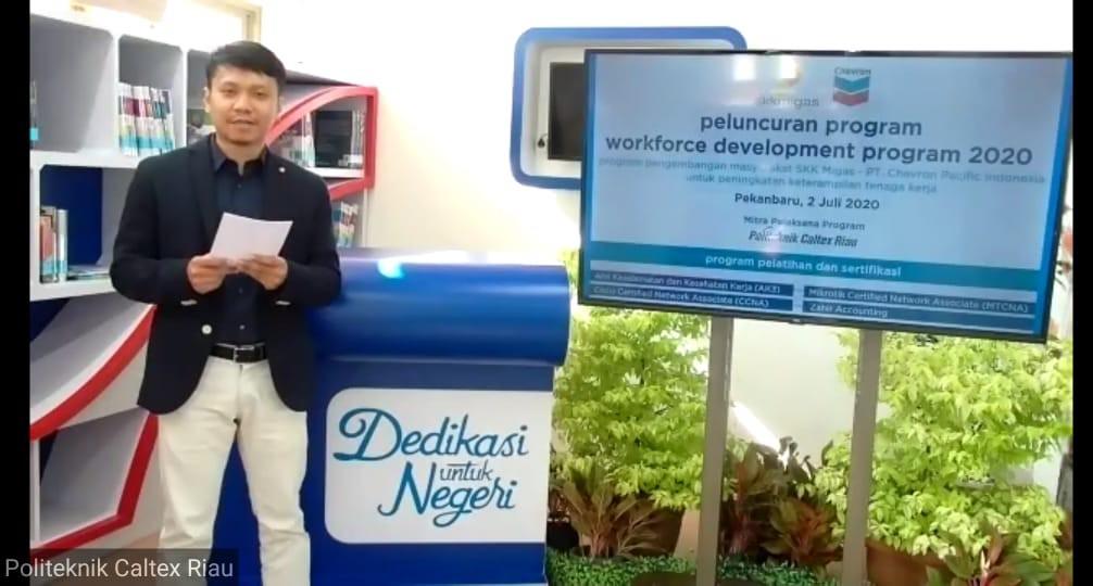 Acara peluncuran Program Peningkatan Keterampilan Tenaga Kerja yang dipandu dari kampus Politeknik Caltex Riau (PCR).