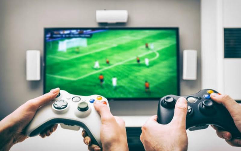 Ilustrasi orang main game
