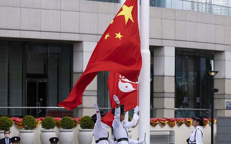 Upacara memperingati 23 tahun kembalinya Hong Kong ke pemerintahan China pada 1 Juli 2020 - Bloomberg