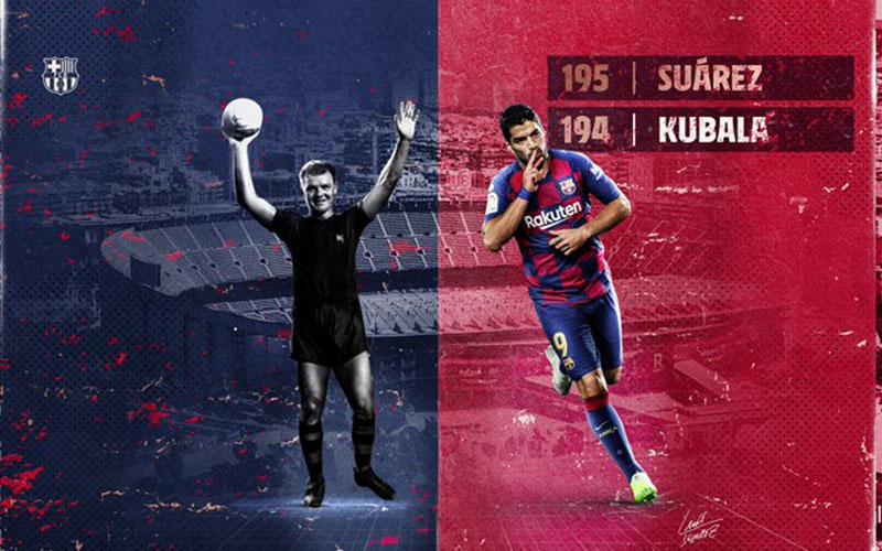 Luis Suarez menyalip Ladislau Kubala sebagai pencetak gol terbanyak ketiga Barcelona sepanjang masa. - FCBarcelona.com
