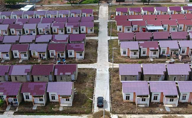 Foto aerial kompleks perumahan bersubsidi di Palembang, Sumatera Selatan, Jumat (31/1/2020). - Antara/Nova Wahyudi