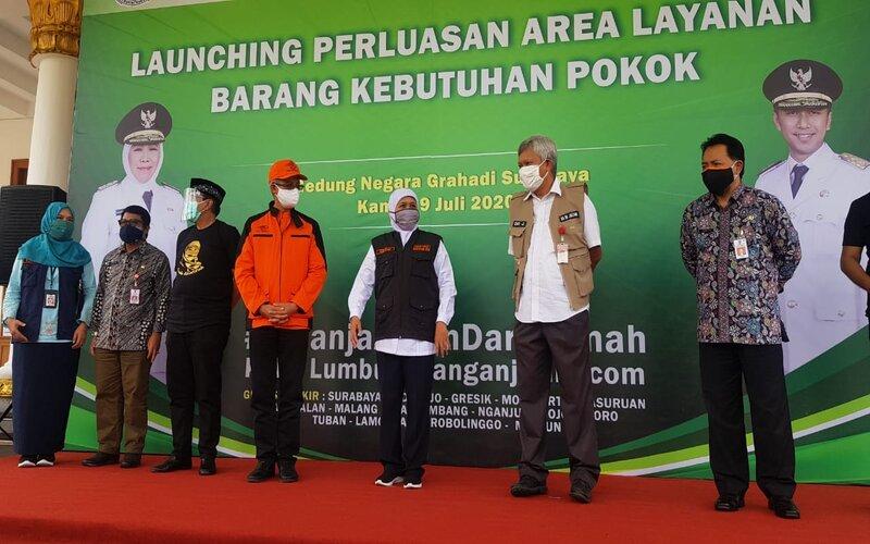 Seremoni perluasan Lumbung Pangan Jatim di Gedung Grahadi Surabaya, Kamis (9/7/2020). - Bisnis/Peni Widarti