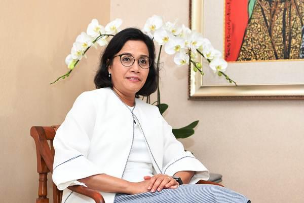Menteri Keuangan Sri Mulyani bersiap melakukan wawancara khusus dengan sejumlah wartawan di area penyelenggaraan pertemuan tahunan IMF World Bank Group 2018 di Nusa Dua, Bali, Selasa (9/10/2018). - ANTARA/Zabur Karuru