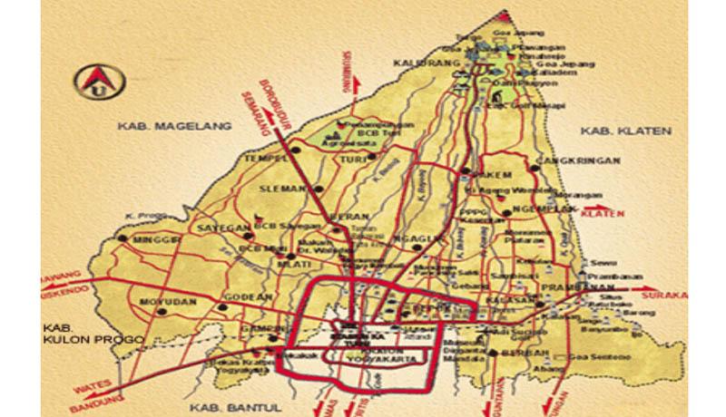 Peta wilayah kecamatan di Kabupaten Sleman