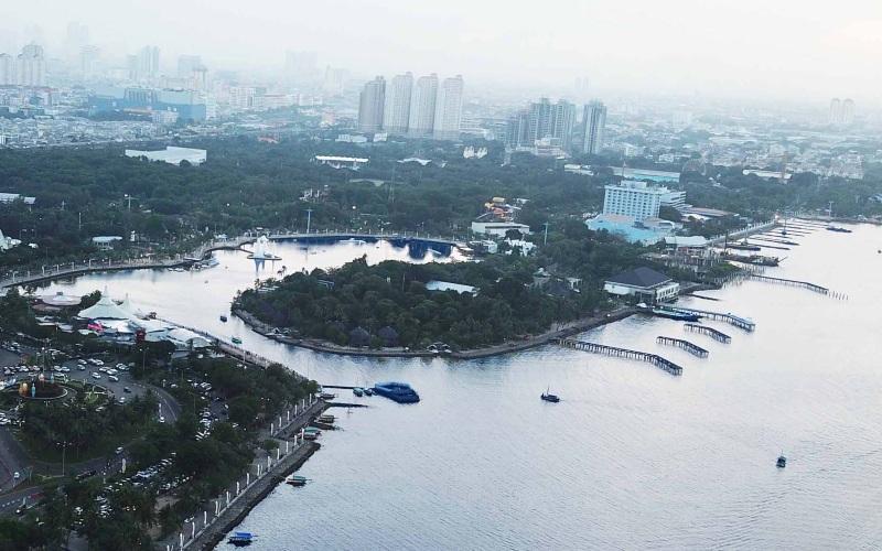 Foto udara kawasan Pantai Ancol. - ancol.com