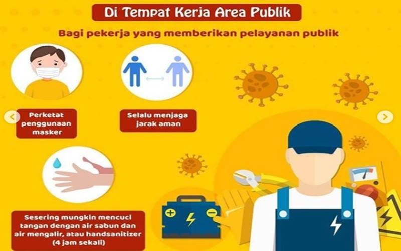 Poster tips bekerja aman dari penularan virus corona - Instagram @kemenkes_ri