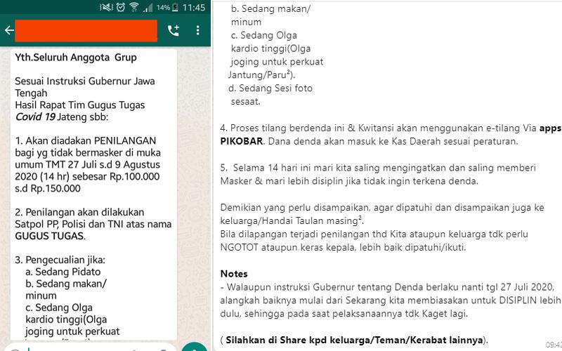 Hoaks denda Rp1500.000 masker di Jawa Tengah