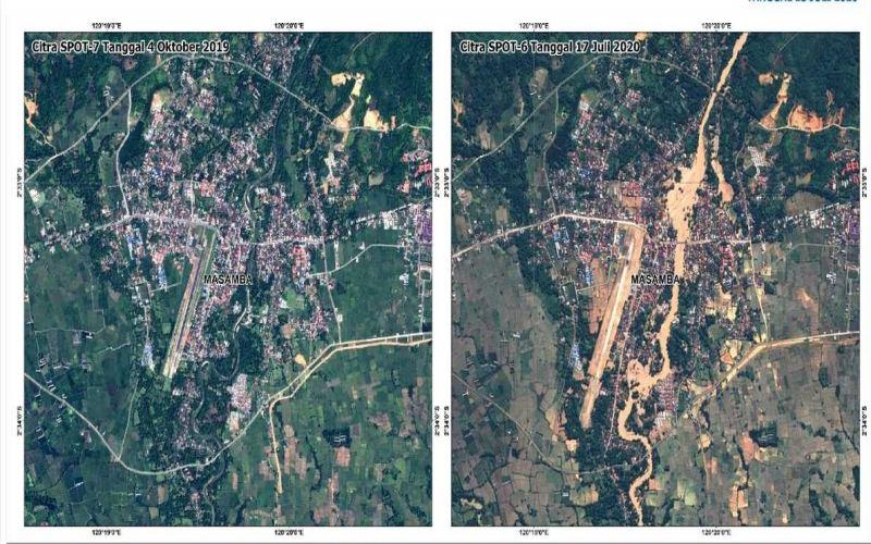 Citra satelit Kota Masamba di Luwu Utara, Sulsel sebelum (kiri) dan sesudah (kanan) banjir bandang. - Foto/foto/Lapan