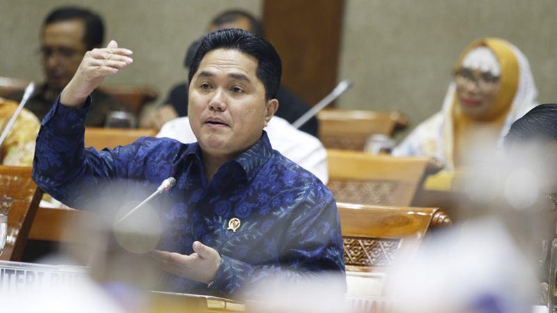 Menteri BUMN Erick Thohir mengikuti rapat kerja dengan Komisi VI DPR di Kompleks Parlemen, Senayan, Jakarta, Kamis (20/2/2020). -  ANTARA / Rivan Awal Lingga