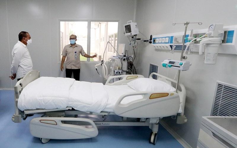 Gubernur Sumut Edy Rahmayadi meresmikan 15 ruang isolasi tambahan untuk menampung pasien Covid 19 yang dibangun tepat berada di belakang Rumah Sakit Adam Malik, Jalan Cardiac Center Medan, Senin (20/7/2020). - Biro Humas dan Keprotokolan Setdaprov Sumut