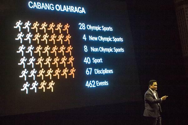 Erick Thohir saat menjadi Ketua Indonesia Asian Games Organizing Committee (Inasgoc) memberikan pemaparan saat presentasi laporan akhir tahun panitia pelaksana Asian Games 2018 di Jakarta, Senin (11/12). - ANTARA/Galih Pradipta
