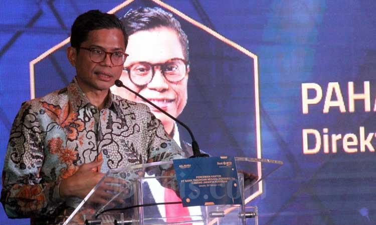 Direktur Utama PT Bank Tabungan Negara (Persero) Tbk. (BTN) Pahala N. Mansury menyampaikan sambutan pada  peresmian relokasi kantor cabang Bank BTN Jakarta Kuningan di Jakarta, Rabu (26/2/2020). Bisnis - Dedi Gunawan