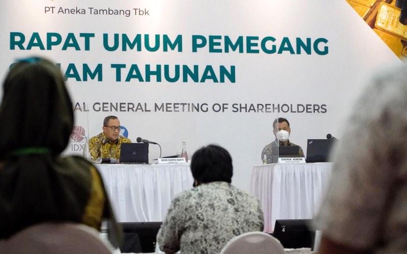 Ilustrasi - Suasana Rapat Umum Pemegang Saham Tahunan 2019 PT Aneka Tambang Tbk di Jakarta, Kamis (11/6 - 2020). Istimewa