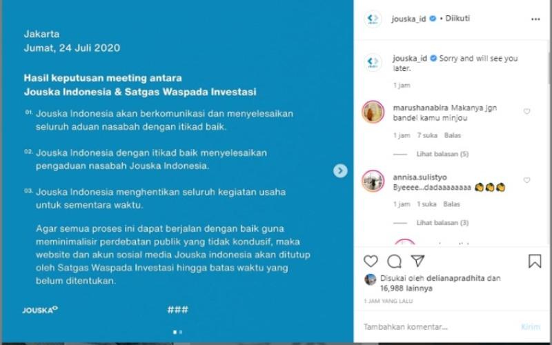Tangkapan layar akun resmi Jouska Indonesia di laman Instagram, Jumat (24/7 - 2020).