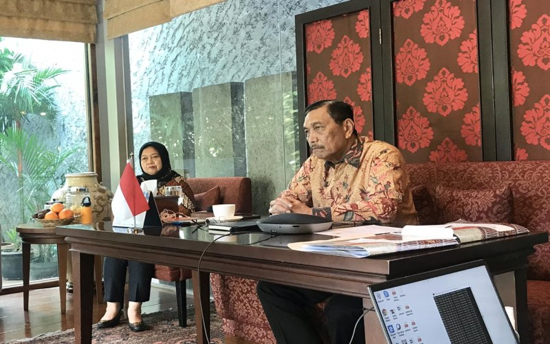 Menko Kemaritiman dan Investasi Luhut B. Pandjaitan dalam Digital Launch of Indonesia's Multi-Stakeholder Action Plan, Rabu (22/4/2020). Istimewa -  Humas Kemenko Marves