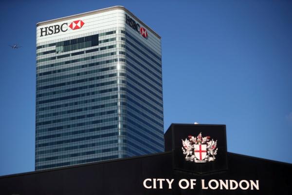 Gedung HSBC di London, Inggris, Rabu (8/8/2018). - Reuters/Hannah McKay