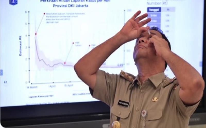 Gubernur DKI Jakarta meneteskan obat tetes mata saat pemaparan evaluasi PSBB jilid III, Kamis (4/6/2020). - Twitter @aniesbaswedan