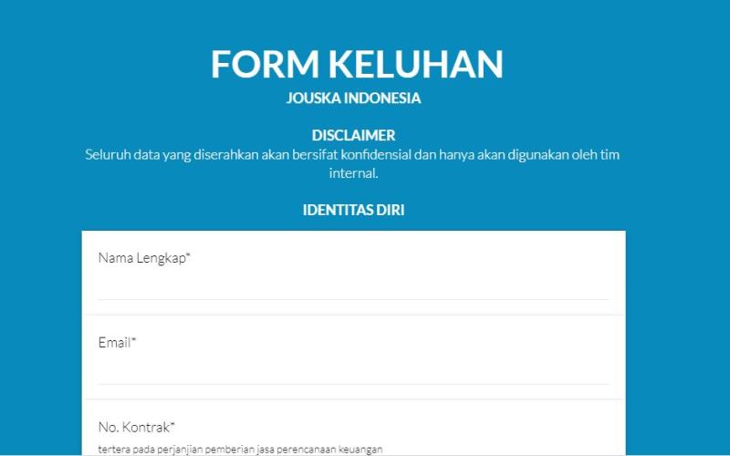 Tangkapan layar form keluhan pelanggan Jouska.