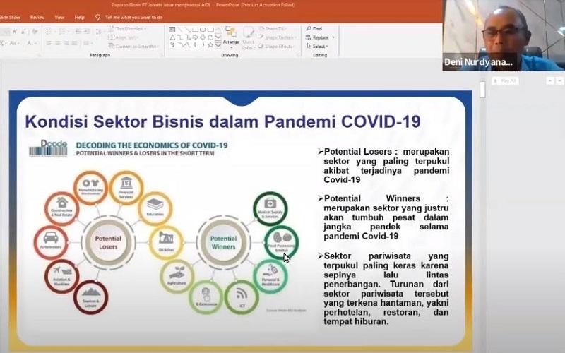 Ketua Forum BUMD Jabar, Deni Nurdyana Hadimin memaparkan program pemulihan BUMD Jabar