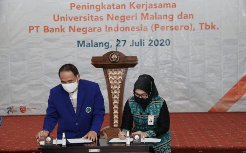 Penandatanganan Kerja Sama BNI dengan Universitas Negeri Malang, Senin (27/7/2020) - Dokumen BNI