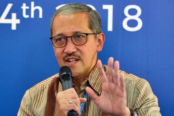 Deputi Gubernur Bank Indonesia Dody Budi Waluyo menyampaikan hasil-hasil Forum Pembiayaan Infrastruktur dalam konferensi pers Pertemuan Tahunan IMF - World Bank Group 2018 di Nusa Dua, Selasa (9/10/2018). - ANTARA/Nyoman Budhiana