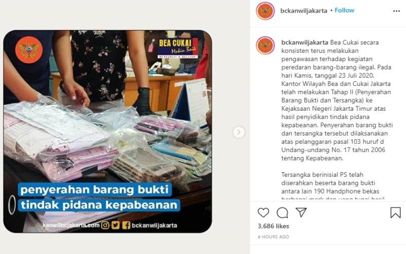 Bea Cukai Kanwil DKI Jakarta menangkap tersangka penjual handphone bekas dan ilegal yang berinisial PS  -  Instagram: @bckanwiljakarta