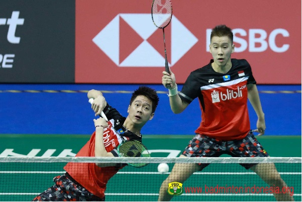 Ilustrasi-Ganda putra, Kevin Sanjaya-Marcus Gideon - Badminton Indonesia