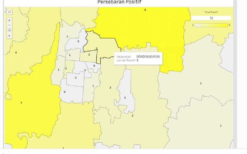 Tangkapan layar sebaran positif Covid/19 di Kota Yogyakarta pada website corona.jogjaprov.go.id.