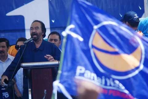 Ketua Umum Partai Nasdem Surya Paloh saat memberikan sambutan dalam acara yang digelar partai itu. Partai Nasdem sudah mengusung sejumlah calon kepala daerah di lima daerah Jawa Tengah.