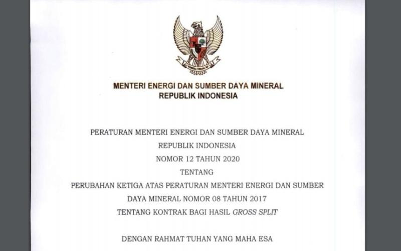 Peraturan Menteri ESDM No. 12 - 2020, ditetapkan 15 Juli 2020 dan diundangkan pada 16 Juli 2020.