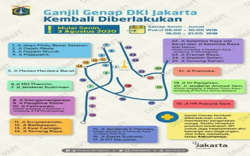 Peta jalan yang menerapkan ganjil genap per 3 Agustus 2020 - Dok. Dishub DKI jakarta