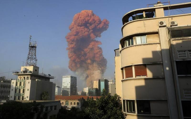 Ledakan terjdi di Beirut, ibu kota Lebanon, Selasa 4 Agustus 2020 - Bloomberg/Anwar Amro/AFP via Getty Images