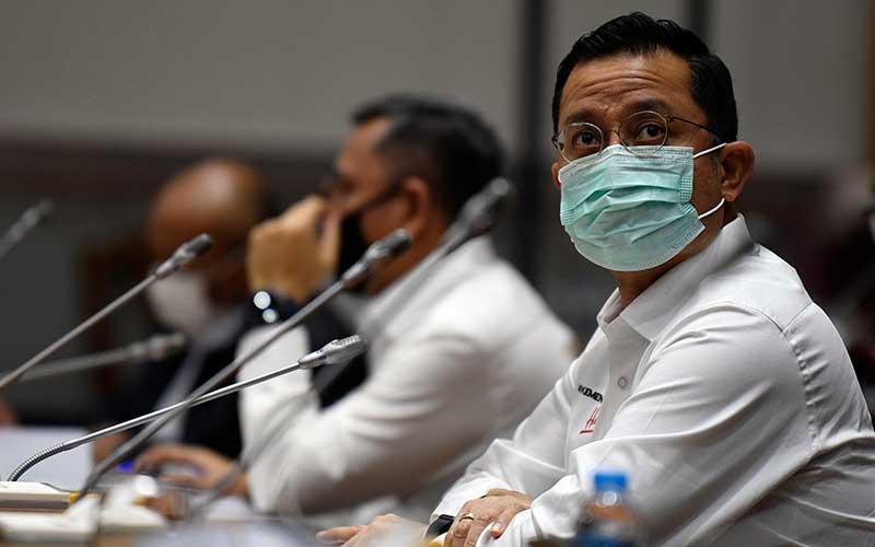 Menteri Sosial Juliari Batubara mengikuti rapat kerja bersama Komisi VIII DPR di Kompleks Parlemen Senayan, Jakarta, Rabu (24/6/2020). Rapat kerja tersebut membahas pembicaraan pendahuluan RAPBN Tahun Anggaran 2021, RKP 2021 dan evaluasi kinerja Kemensos tahun 2020. ANTARA FOTO - Puspa Perwitasari