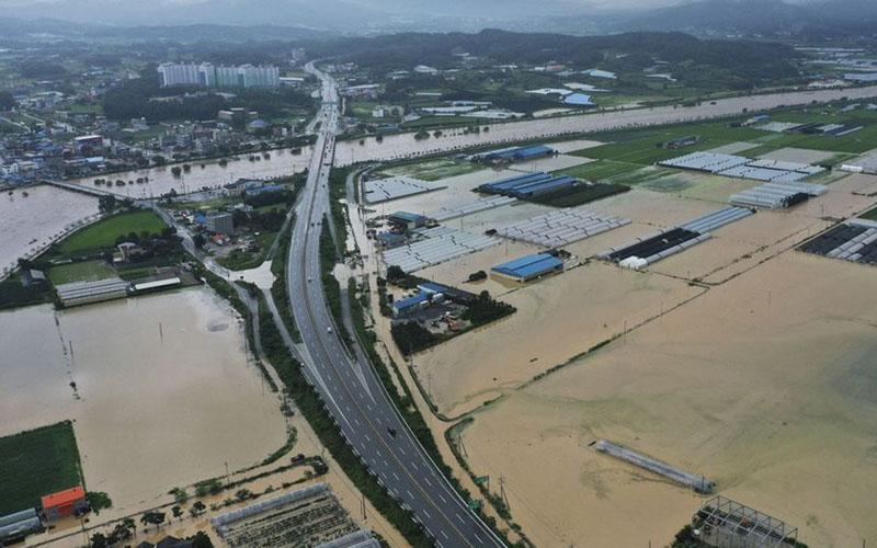 Banjir di Korea Selatan. - Bloomberg