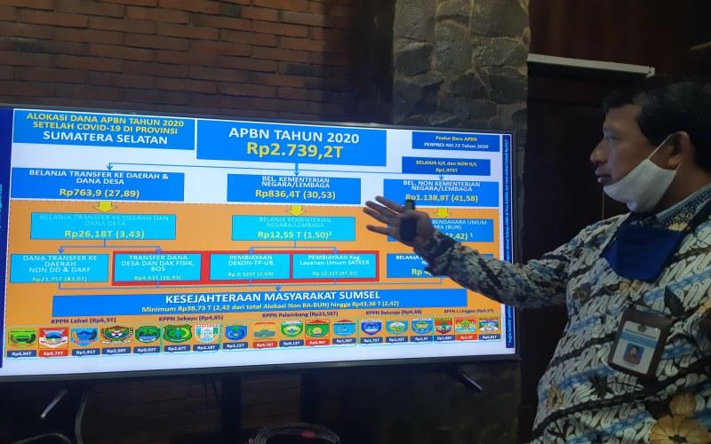 Kepala Kanwil DJPb Sumsel Taukhid memberikan keterangan terkait alokasi APBN untuk Sumsel. bisnis/dinda wulandari