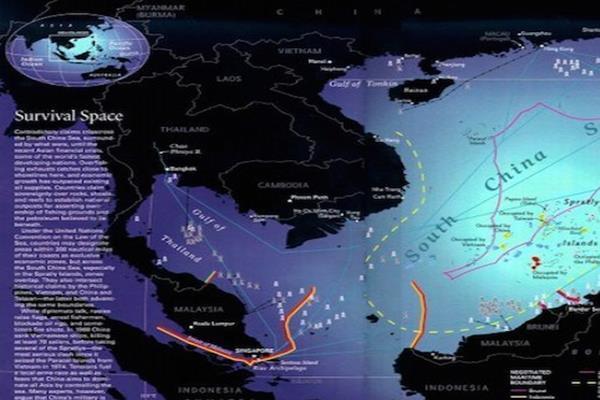 Ilustrasi peta kawasan Laut China Selatan. China mengklaim secara sepihak hampir semua Laur China Selatan, dan menerapkan area udara pertahanan di atas wilayah itu. Sampai kini China tidak menetapkan koordinat pasti Sembilan Garis Putus-putus yang dijadikan dasar klaim sepihak mereka. - beforeitnews.com