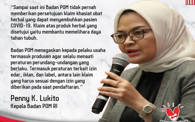 Kepala Badan POM Penny K Lukito. - Twitter @BPOM/RI