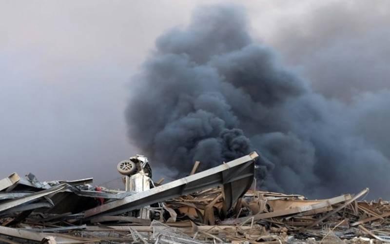Bangunan yang hancur akibat ledakan besar di gudang yang menyimpan bahan peledak di Beirut, Lebanon, Selasa (4/8/2020). - Antara/Reuters