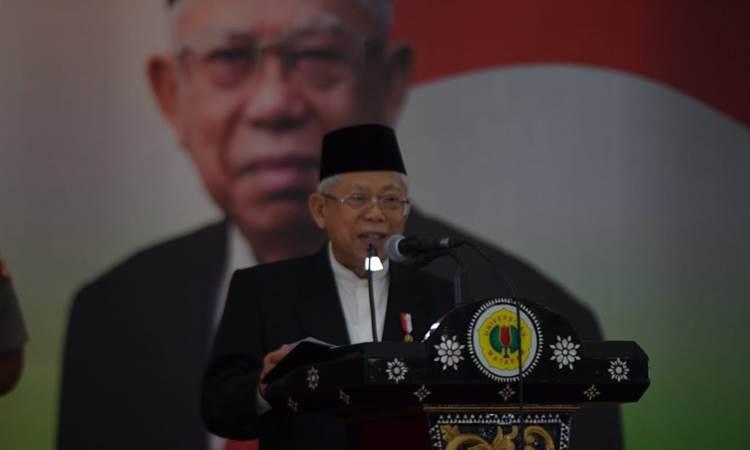 Wakil Presiden Ma'ruf Amin saat memberikan kuliah umum di Universitas Mataram, Nusa Tenggara Barat, Rabu (19/2/2020) - Istimewa