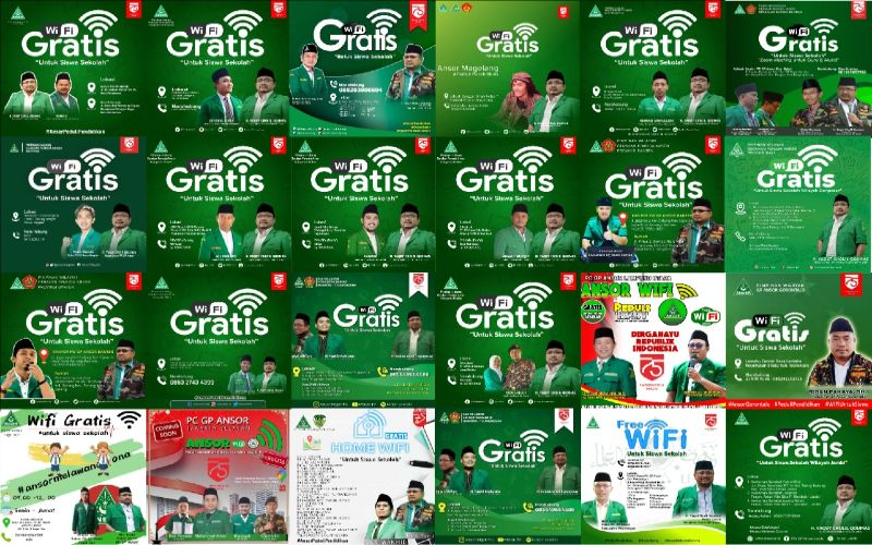 Pimpinan Pusat GP Ansor menginstruksikan kepada seluruh kader Ansor dan Banser di seluruh Indonesia untuk segera menggelar program wifi gratis di wilayahnya masing-masing.  - GP Ansor
