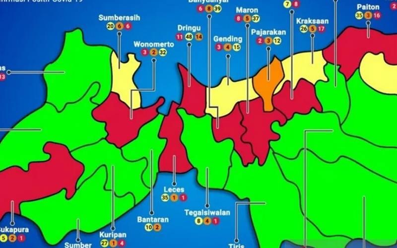 Peta sebaran Covid-19 di Kabupaten Probolinggo terdapat zona hijau, zona kuning, orange, dan merah hingga 18 Juni 2020. - Antara