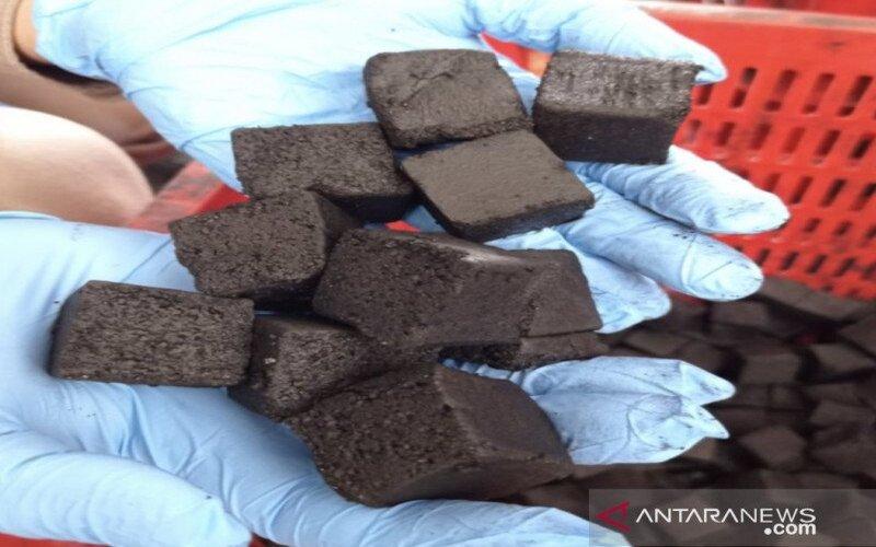 Briket arang tempurung kelapa yang diekspor ke tiga negara, yakni Rusia, Ukraina dan Moldovo. - Antara/Karantina Bangkalan