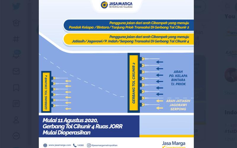 Skema pemisahan transaksi di Gerbang Tol Cikunir 2 dan Cikunir 4 mulai Selasa 11 Agustus 2020